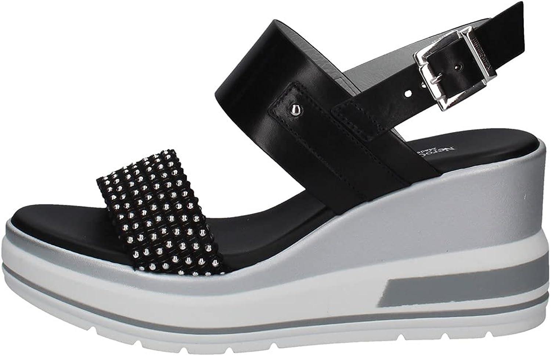 NeroGiardini E115760D - Sandalias de mujer de piel coñac o negro, un calzado adecuado para todas las ocasiones, primavera-verano 2021