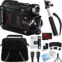 Olympus Stylus TG-Tracker Waterproof 4K Action Cam Black Accessory Bundle includes Camera, 43 Telescopic Selfie Stick, Bag, HDMI Cable, Battery, 32GB microSD Memory Card, Beach Camera Cloth and More