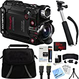 Olympus Stylus TG-Tracker Waterproof 4K Action Cam Black Accessory Bundle includes Camera, 43'' Telescopic Selfie Stick, Bag, HDMI Cable, Battery, 32GB microSD Memory Card, Beach Camera Cloth and More
