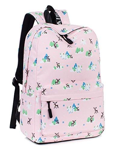 Cute Deer Laptop Backpack for Women, Travel Bag School Backpack for Girls Daypack by Leaper (Pink Deer)