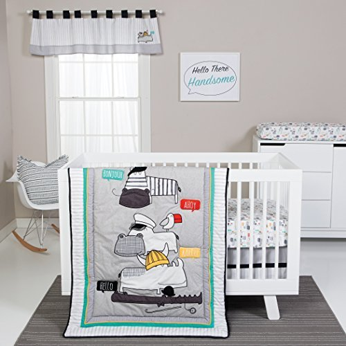 Trend Lab Hello 4 Piece Crib Bedding Set, Yellow, Gray and White [並行輸入品]   B077ZGF2FL