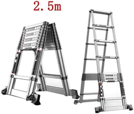 ZDTZ/L Escaleras Escalera Plegable hogar telescópico portátil Escalera de Espiga de Doble Cara Gruesa ingeniería de aleación de Aluminio Taburete Escalonado (Size : 2.5m+2.5m): Amazon.es: Hogar