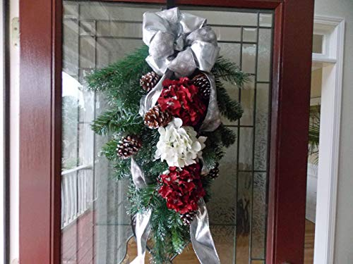 Ships Floral Large Bow (SALE & READY TO SHIP! Large Elegant Hydrangea &Pine Christmas Teardrop Swag Wreath w/Silver Bow for Front Door Porch Indoor Wall Fireplace Mantle Home Decor Accent Piece Holiday Winter, Handmade, 30