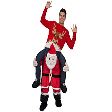 36aeccb57b Amazon.com  Halloween Carry Ride On Me Shoulder Santa Claus Mascot Costume  Ride On Costume  Clothing