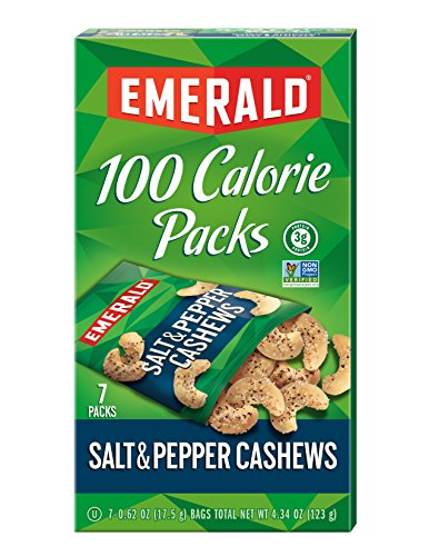 Emerald Salt and Pepper Cashews 100 Calorie Packages, 0.62 Ounce(7count)