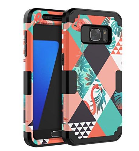 QBcase Samsung Galaxy S7 Case,Three Layer Flamingos tropical Design Shockproof Flexible Soft Inner TPU Cover Anti-Scratch For Girls Women Men Kids Protective Case Cover For Samsung Galaxy S7 Case