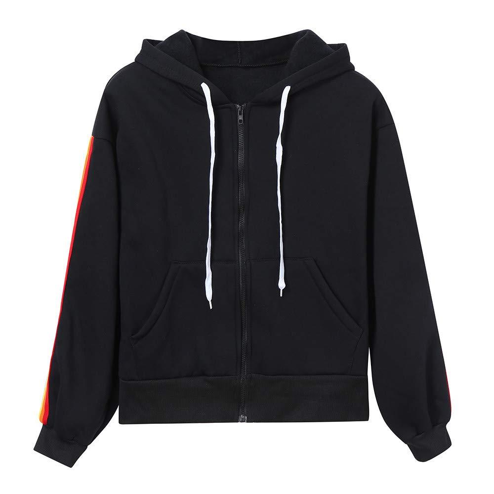 Sport Coat, Women Patchwork Zipper Hoodie Rainbow Striped Hooded Jacket (Thin) (Black, S) by Zainafacai