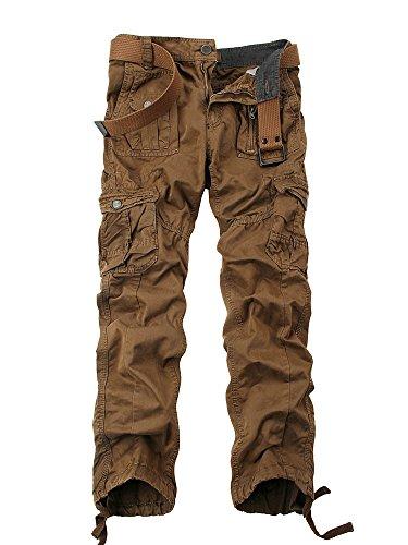 OCHENTA Herren Freizeithose Wasserwäsche Cargohose mehrere Tasche aus Baumwolle Loose-Fit Kaffeebraun W32