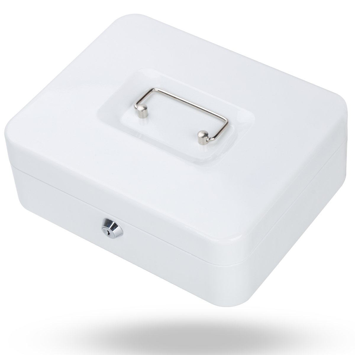 Metal Cash Box with Money Tray, Decaller Money Box with Key Lock for Security (White, Medium - 9 4/5'' x 7 4/5'' x 3 1/2''), QH2507M