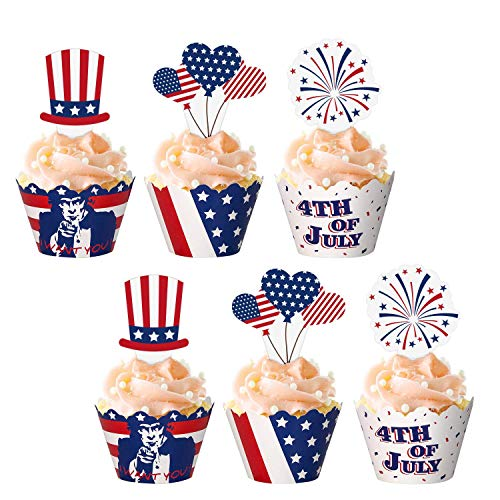 jollylife 48Ct Fourth/4th of July Cupcake Toppers Wrappers - Patriotic Party Supplies Cake Decorations