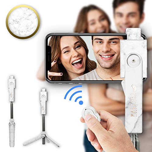 Selfie Stick Tripod with Detachable Wireless Remote Shutter for iPhone & Android: 360° Rotating Phone Holder, Extendable Stick & Reversible Pin (Designer Marble)