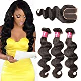 Cheap Longqi Hair Bundles With Closure Brazilian Body Wave Hair Bundles With Middle Part Closure Wet And Wavy Weave Virgin Hair Human Bundles Natural Black Color(12 14 16 closure 10)