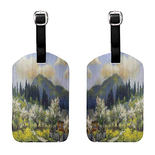 (Travel ID Bag Tag Lakehouse Decor Collection,Retro Village House in a Small Grass Garden by Trees with Flowers Mountain Picture,Olive White Blue Label with Loop)