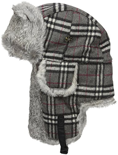 Mad Bomber Original Blue Plaid Wool Pilot Bomber Hat Real Rabbit Fur Trapper Hunting Cap, Small
