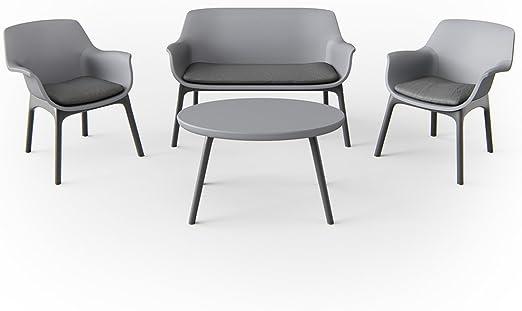 Juego de muebles de jardín (Asiento Grupo Balcón Muebles plástico gris: Amazon.es: Jardín