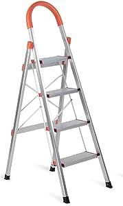 SHAREWIN Aluminum Step Ladder Lightweight Multi Purpose Portable Folding Home Ladder 4 Step