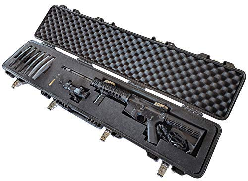 Waterproof Iron Clasp Cam Latch Pick and Pluck Cubed Foam Hard Shell Tactical Rifle Shotgun Case Airtight & All Weather Extra Large Locking TSA Airline Airplane Travel Carry Handle AR15 Colt 12 Gauge