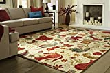 Cheap Mohawk Home Strata Tropical Acres Paisley Floral Printed Area Rug, 5'x8′,  Beige