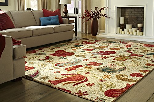 (Mohawk Home Strata Tropical Acres Paisley Floral Printed Area Rug, 5'x8',  Beige)