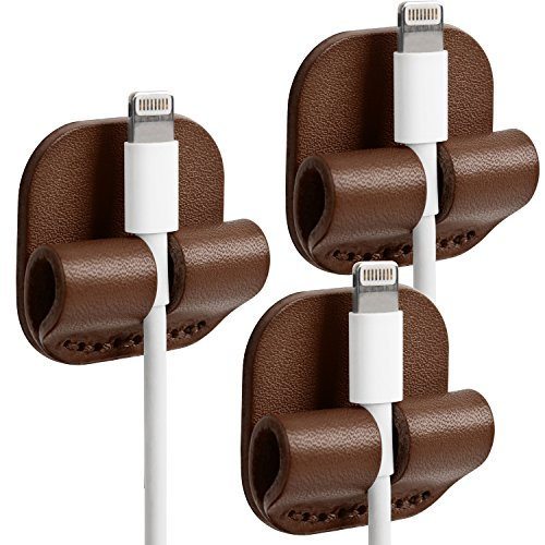 TOPHOME Cable Management, Cable Organizer Multipurpose Cable Clips for Power Wires, Charging Cables, USB Cords, Audio Cables, Headphones Lightning Earbuds Genuine Leather 3 Pcs Brown