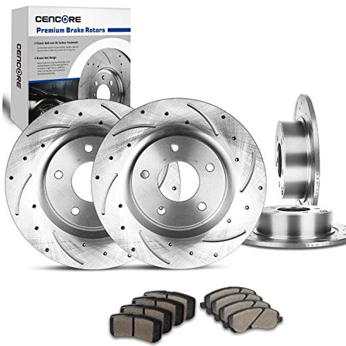 CENCORE Front & Rear Brake Kit Cross Drilled & Slotted 4 Brake Rotors & 8 Ceramic Brake Pads Compatible with 2007-2010 Chrysler Sebring 2008-2014 Dodge Avenger 2009-2014 Jeep Patriot Jeep Compass