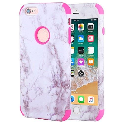 iPhone 6 Plus Case, iPhone 6s Plus Case, Anuck Shockproof Heavy Duty Protective Case for iPhone 6/6s Plus 5.5 inch Anti-scratch Hard Marble Shell Soft Silicone Bumper Hybrid Defender Cover, Pink