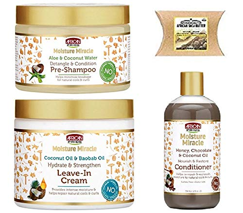 African Pride Moisture Miracle Combo Set (Cream&Pre-Shampoo&Conditioner&SHEA-BUTTER)