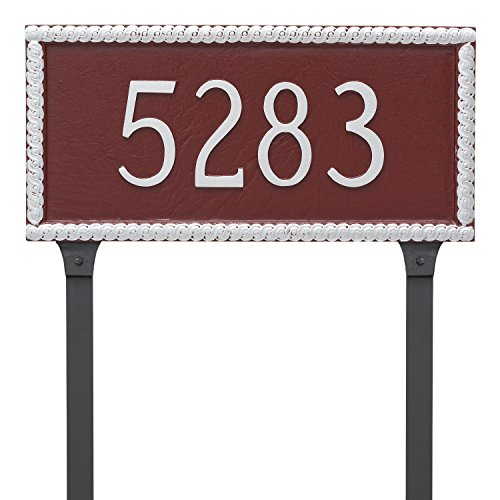 "Harrison Rectangle One Line Address Sign Plaque with Lawn Stake, 8"" x 16.75"", Brick Red/Gold - Montague Metal PCS-0073S1-L-BRG"