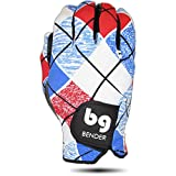 Bender Gloves Women's Spandex Golf Glove for Left Handed Golfers (Worn on Right Hand) (Plaid, Medium)