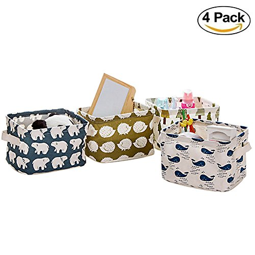Home Decor Canvas Storage Bins Basket Organizers for Baby Toys,Makeup,Books,4 Pack