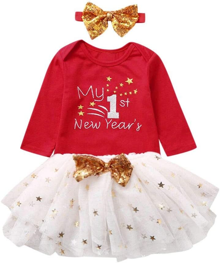 Shan-S Baby Girls Christmas Costume Colthing Infant Toddler Romper Jumpsuit Outfits Shirt Tops Xmas Reindeer Printed Skirt Dress Outfits 2 PCS Set