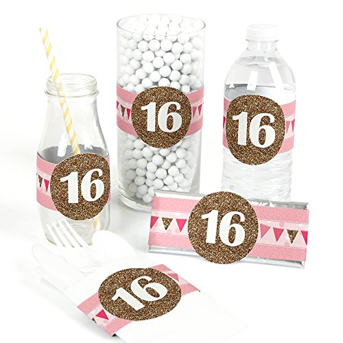 - Big Dot of Happiness Sweet 16 - DIY Party Supplies - Birthday Party DIY Wrapper Favors & Decorations - Set of 15