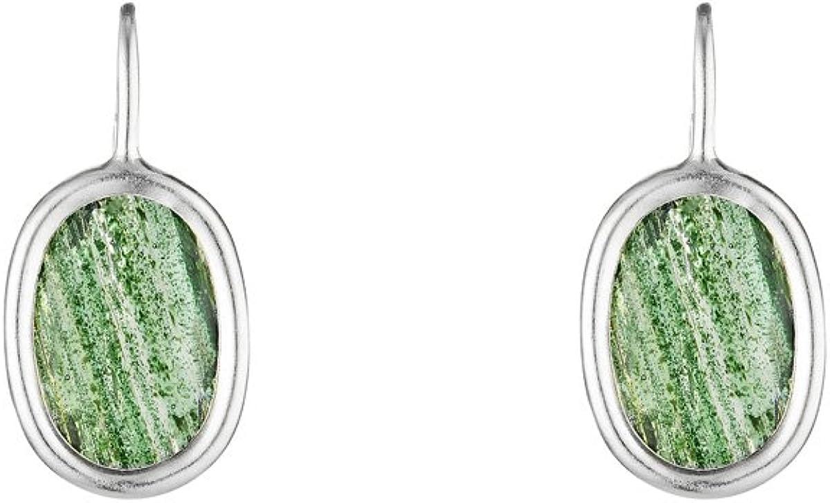 Córdoba Jewels | Pendientes en plata de Ley 925 con piedra semipreciosa. Diseño Oval Esmeralda Hippie