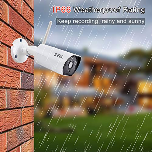 SY2L 960P Outdoor WiFi Wireless Security Bullet Camera, Two-Way Audio, IR LED Night Vision, Motion Detection Alarm/Recording, Support Max 64GB SD Card, Home Video Weatherproof Surveillance IP Camera
