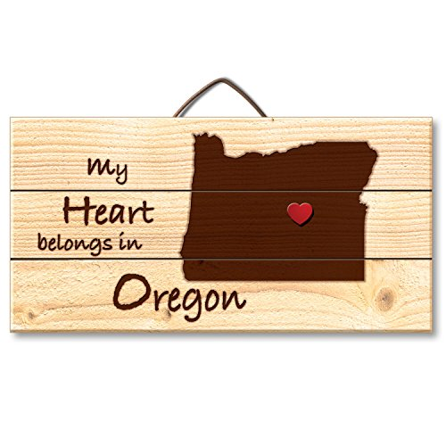 Highland Woodcrafters Oregon Laser Etched Pallet Wood State Sign with Heart Shaped Push Pin, 6 x 12 - Oregon Wood