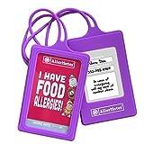 AllerMates Food Allergies Customizable Kids Medical ID Tags Set - Purple