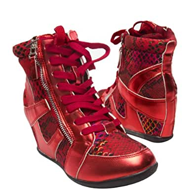 Bolaro Women's SN1083 Lace Up Hightop Hidden Wedge Heel Sneakers, RED Patent Leather (11 B(M) US)
