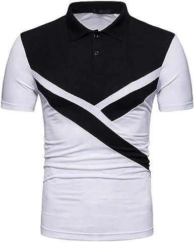 Polo De Los Hombres Color Block Patchwork Camisa Mode De ...