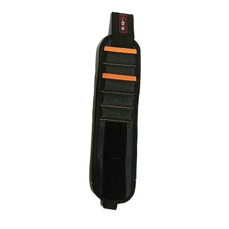 Pulsera magnética con fuertes imanes para sujetar tornillos, clavos, brocas (negro)