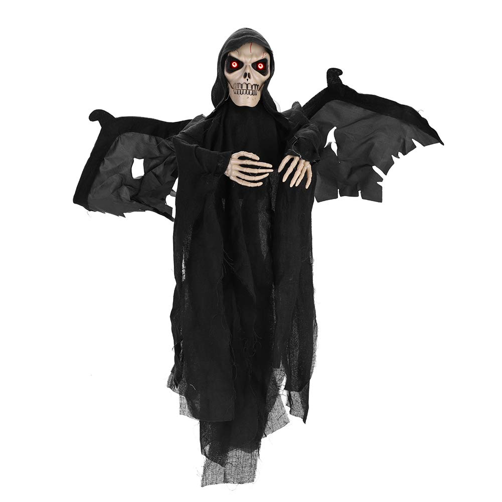 IBLUELOVER Skull Death Halloween Hanging Ghost Decorations Electronic Glowing Eyes Shake Wing Creepy Voice Skeleton Bat Hanging Ornament Necklace