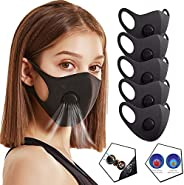 5pcs Reusable and Washable Face Bandanas with Breathing Valve for Adults