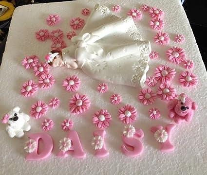 Personalised Beautiful Edible Sugar Baby Girl In Pearlised White Daisy Printed Dress Name