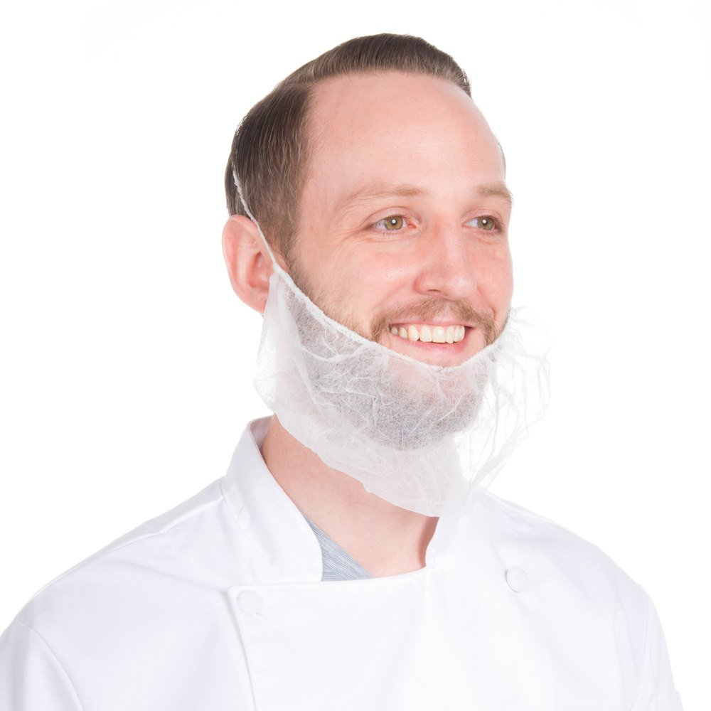 Disposable Beard Nets Spun-bonded Polypropylene (1,000, White)