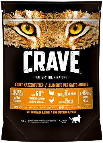 CRAVE Premium Trockenfutter mit Truthahn & Huhn für Katzen – Getreidefreies Adult Katzenfutter mit hohem Proteingehalt…