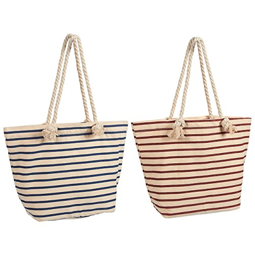 Reusable Grocery Bags - 2 Pack Canvas Beach Tote Bags with Handles - Zippered Reusable Shopping Bags, Blue and Red Stripes, 18.5 x 12.1 x 5.25 Inches
