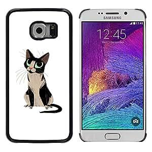TopCaseStore / la caja del caucho duro de la cubierta de protección de la piel - Cat Blue Eyes Black White Art Drawing Whiskers - Samsung Galaxy S6 EDGE SM-G925