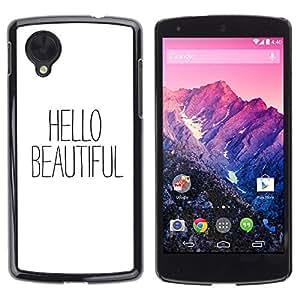 Caucho caso de Shell duro de la cubierta de accesorios de protección BY RAYDREAMMM - LG Google Nexus 5 D820 D821 - Text White Black Flirt