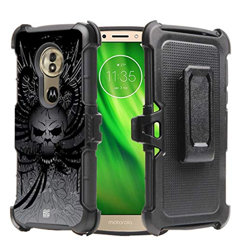Beyond Cell Rugged Dual Layer Shock Resistant Armor Phone Case with Holster for Moto E5 XT1920DL - Skull Wings Black Skull Protector Case