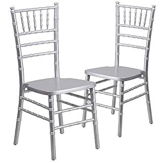 Flash Furniture 2 Pk. HERCULES Series Silver Wood Chiavari Chair