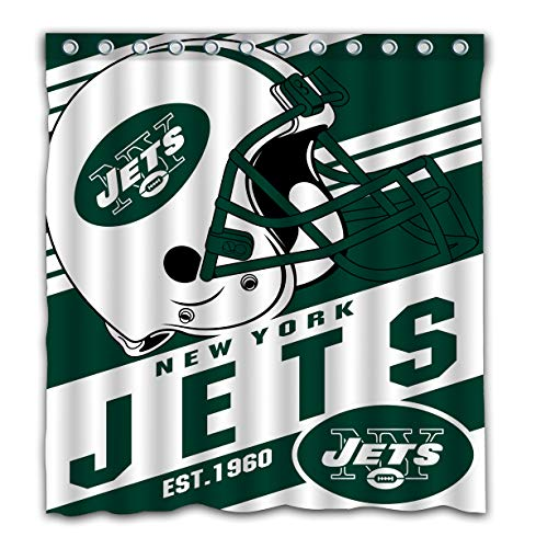 Potteroy New York Jets Team Stripe Design Shower Curtain Waterproof Polyester Fabric 66x72 Inches